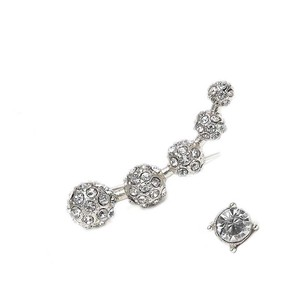 Mariell Crystal Pave Silver Ball Ear Crawler Set 4361e-s