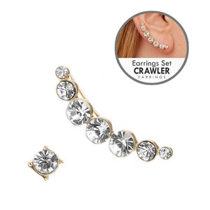 Mariell Gold Bezel Crystal Ear Crawler Set 4362e-g