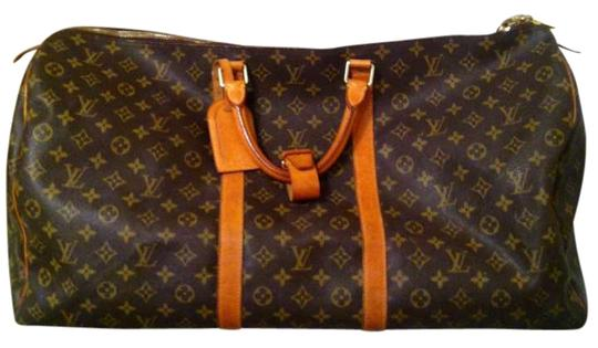 e224b7be02e1 Louis Vuitton Large Luggage Dark Brown Leather Weekend Travel Bag ...
