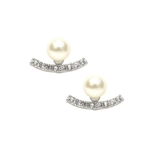 Silver Crystal Curved Ear Jackets with Soft Cream Pearls 4363e-sc-s Earrings