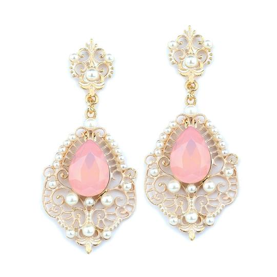 Mariell Gold/Pink Frost Dangle with Opal Pear 4303e-pk-g Earrings