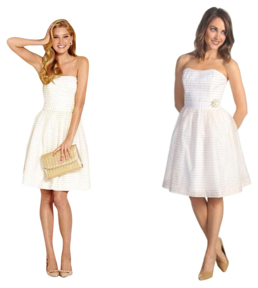 Lilly Pulitzer White and Gold Kerry 47536 Above Knee Cocktail Dress ...