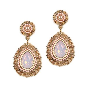 Mariell Pink Opal Teardrop Earrings With Filigree Frame 4359e-pk-g