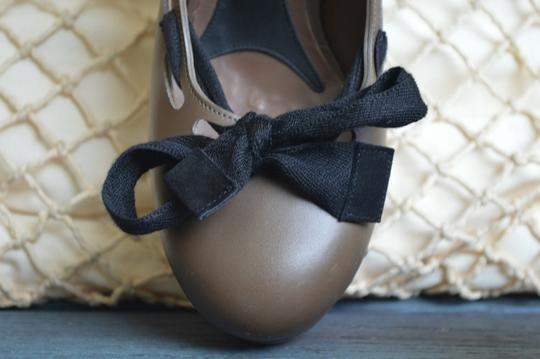Marni Heels Wood Leather Bow Size 39.5 Wedges