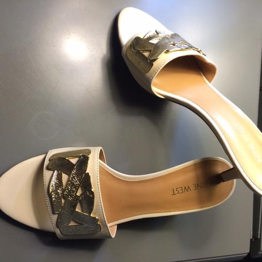 Nine West Leather Dress Slide Gold Accent Gold Off White Low Heel Comfortable Light natural // cream Sandals