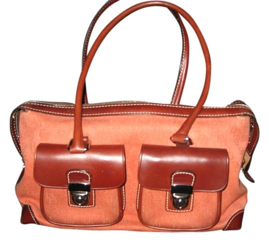 Preload https://item4.tradesy.com/images/dooney-and-bourke-db-logo-on-the-of-the-rustbrown-canvasleather-satchel-3374518-0-0.jpg?width=440&height=440