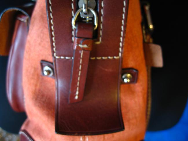 Dooney & Bourke Db Logo On The Of The Rust/Brown Canvas/Leather Satchel Dooney & Bourke Db Logo On The Of The Rust/Brown Canvas/Leather Satchel Image 5