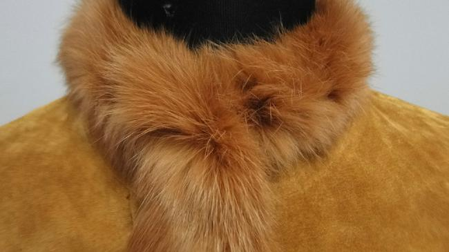 Other Suede Rabbit Fur Brown Leather Jacket