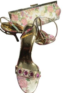 Bakers Big Magenta Bling Sandals shoes and evening bag Floral Pattern of rose and green beige gold Pumps
