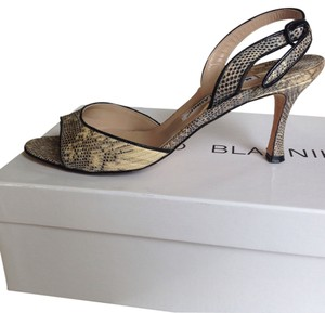 Manolo Blahnik Snake skin black white Sandals