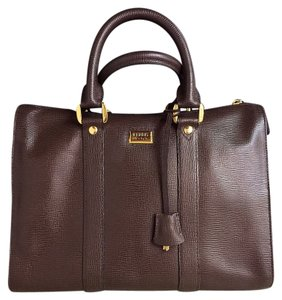 Gianfranco Ferre Vintage Designer Hardware Satchel in Dark Chocolate Brown