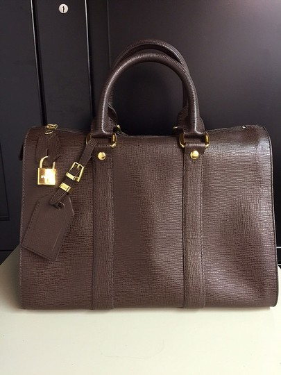 Gianfranco Ferre Vintage Designer Hardware Leather Satchel in Dark Chocolate Brown