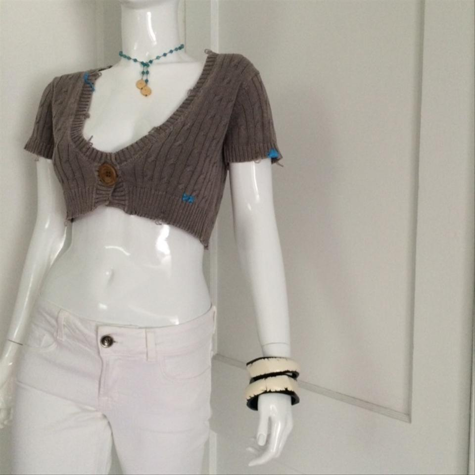 Project E Xx Vintage Joie Cropped Turquoise Brown Sweater - Tradesy 6357ea508