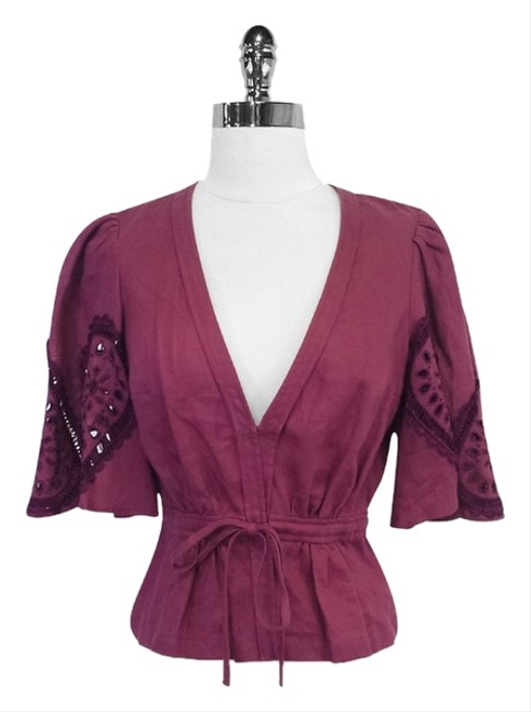 Preload https://item4.tradesy.com/images/plenty-by-tracy-reese-maroon-linen-blouse-size-4-s-3375013-0-0.jpg?width=400&height=650