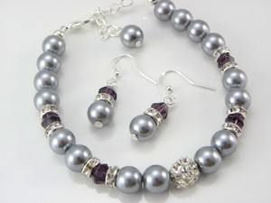 Bridesmaid Set Bracelet And Earrings Amethyst Crystal Grey Pearl Set Of 6