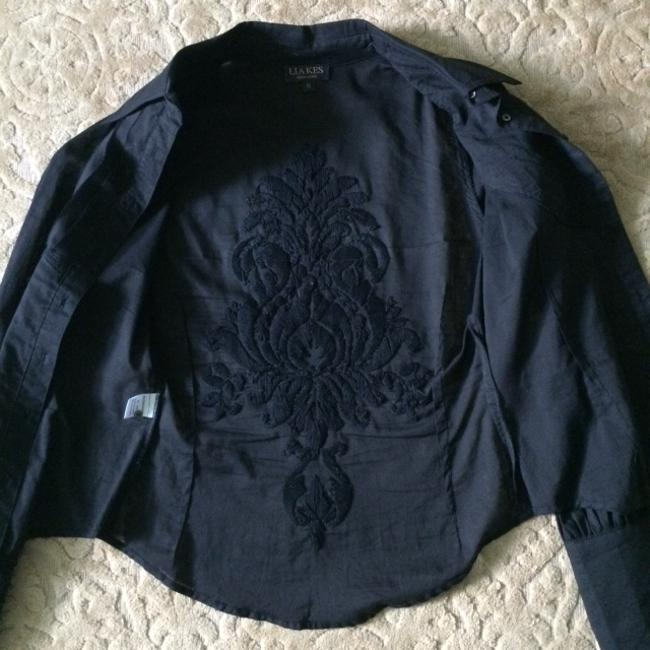 LIA KES New York Embroidered Shirt Tuxedo Button Down Shirt BLACK
