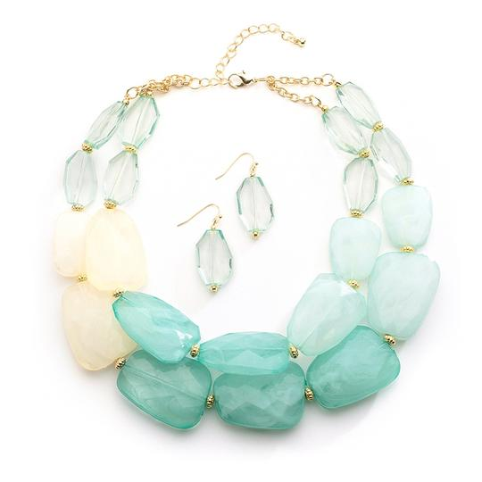 Mariell Mint Pastels Chunky Statement Earrings For Prom Or Bridesmaids 4112s-min Necklace