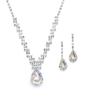 Mariell Prom Or Bridesmaids Rhinestone Necklace Set With Ab Caged Pear 4140s-ab