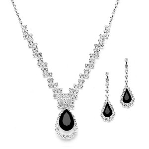 Mariell Silver/Black Prom Or Bridesmaids Rhinestone Necklace Set with Caged Pear 4140s-je Earrings