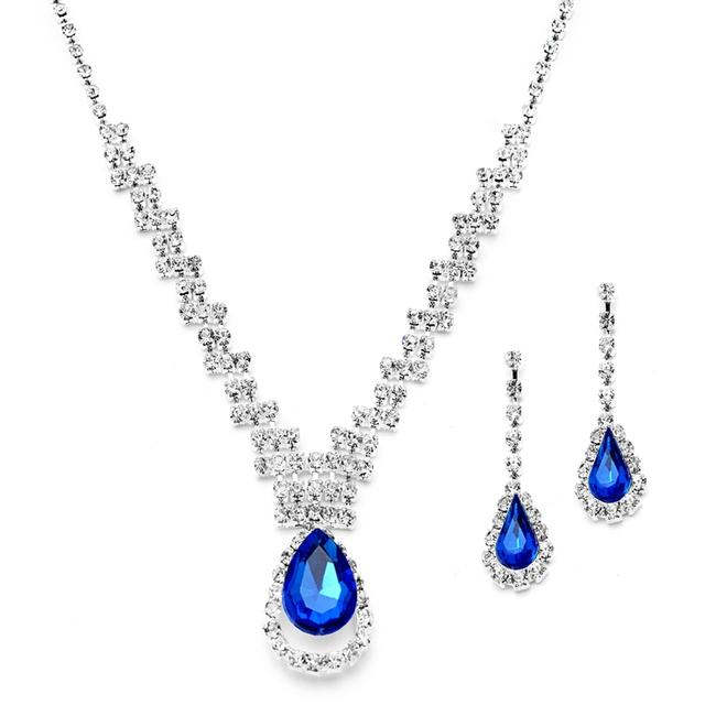 Item - Silver/Royal Blue 6 Sets Prom Or Bridesmaids Rhinestone with Caged Pear 4140s-ry Necklace