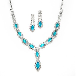 Mariell Aqua/Teal Classic Rhinestone Prom with Aqua/Teal 4159s-aq Necklace