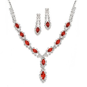 Mariell Red Classic Rhinestone Prom Necklace Set with Light Siam 4159s-ltsi Earrings