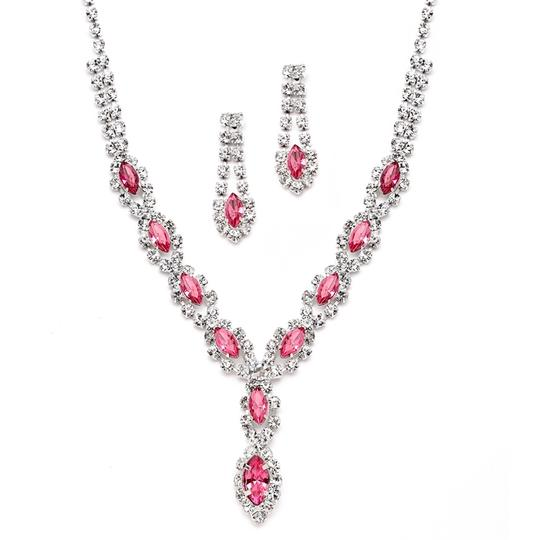 Mariell Pink Classic Rhinestone Prom Necklace Set with 4159s-pk Earrings