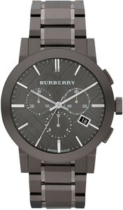 Burberry NWOT Burberry Men's BU9354 Large Check Gray Ion Plated Stainless Steel Watch