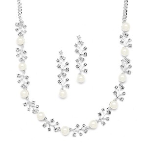 Mariell Soft Cream Pearl Bridal Necklace & Earrings Set With Crystal Sprigs 4229s