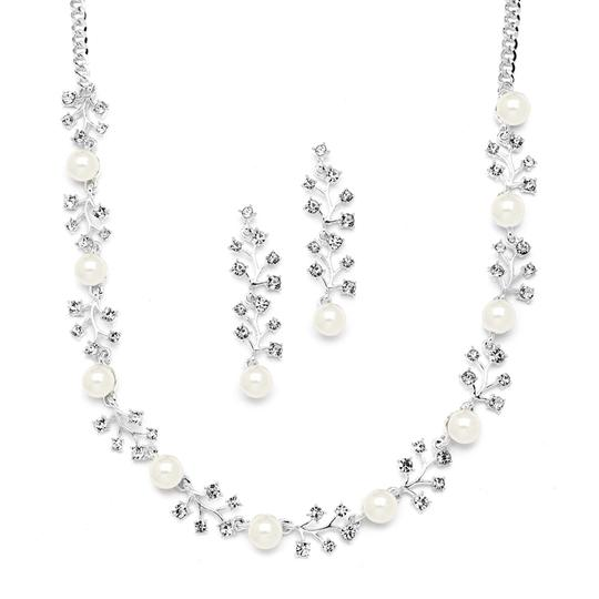 Mariell Silver/Cream Soft Pearl Earrings Set with Crystal Sprigs 4229s Necklace