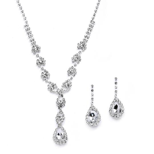 Mariell Silver Dramatic Rhinestone Prom Or with Pear Drops 4231s Necklace