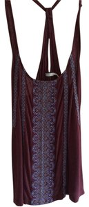 Kimchi Blue Crisscross Strap Embroidered Top Maroon