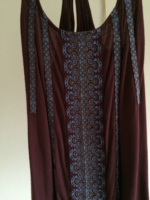Kimchi Blue Crisscross Strap Embroidered Flowy Top Maroon