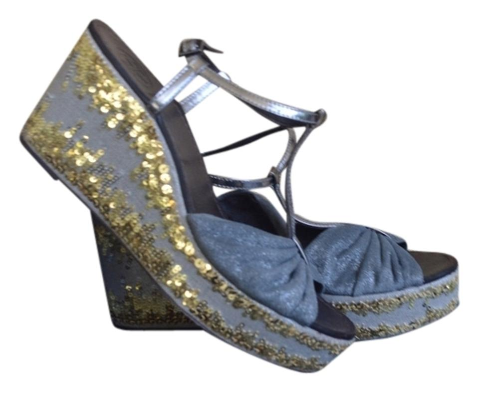 9dfd68b814b608 Tory Burch Percy Sequin Silver Gray Gold Size 6.5 Wedges ...