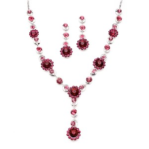 Mariell Fuchsia Multi Floral Drop Necklace Set For Prom Or Bridesmaids 4152s-ra