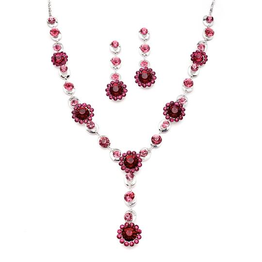 Mariell Fuchsia Multi Floral Drop For Prom Or Bridesmaids 4152s-ra Necklace
