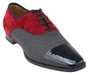Christian Louboutin Olympio Wool Suede Patent Leather Multicolor Oxfords Men Red, Black & Grey Flats