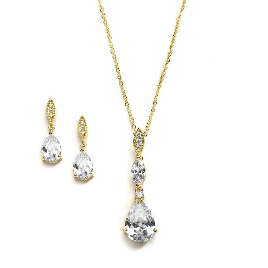Mariell Bridal Necklace Set With Pave Top & Cubic Zirconia Pears 2030s-g