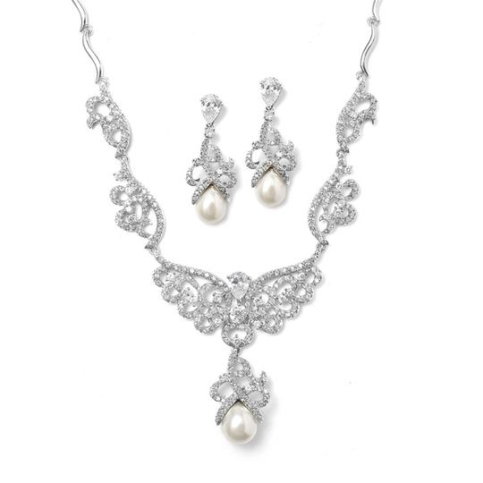 Mariell Silver Magnificent Cz Pave Scroll Necklace Set with Pearl 3039s Earrings