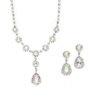 Mariell Silver Ridescent Rhinestone Prom Or Bridesmaid Earrings Set 3555s-ab Necklace