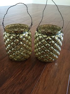 Set Of 2 Gold Large Candle Holders