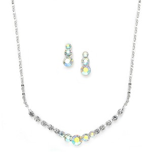 Mariell Dainty Ab Crystal Rhinestone Prom Or Bridesmaid Necklace Set 1053s-ab