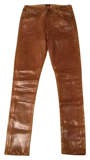 Item - Brown Coated Rocket Skinny Jeans Size 26 (2, XS)