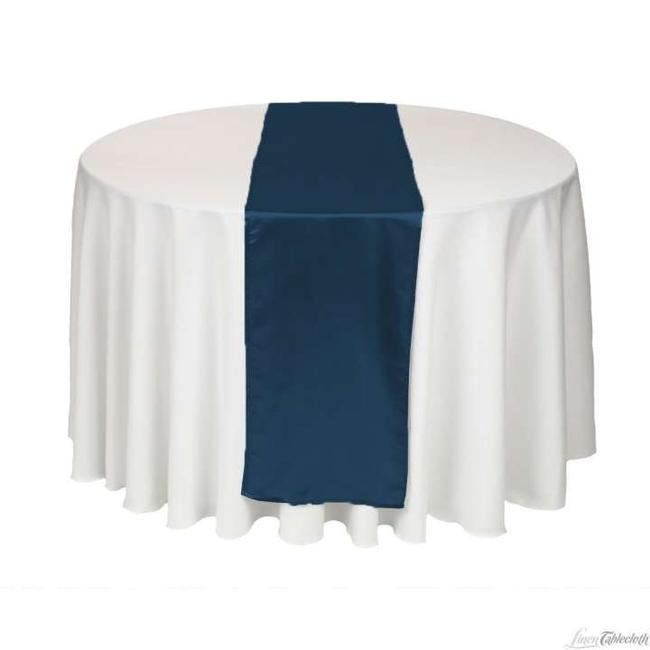 Item - Navy Blue (10) 12x108in Satin Table Runner Tablecloth