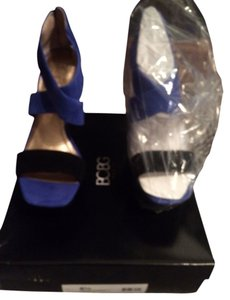 BCBG Paris Stunning Two Tone Black and Cobalt Blue Platforms