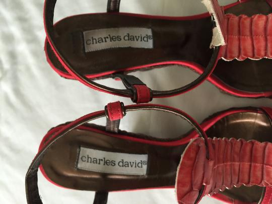 Charles David Red satin with red leather T strap and bronze leather strap Wedges