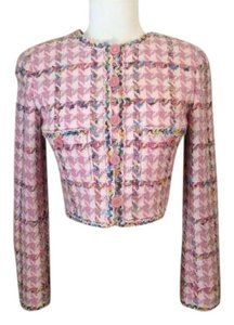 Chanel Boucle Tweed Cropped Pink Jacket