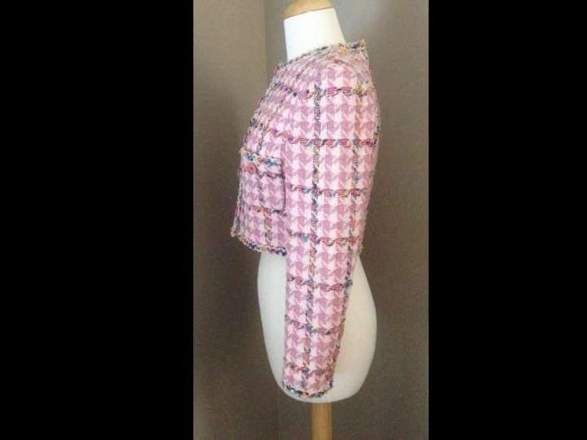 Chanel Boucle Tweed Cropped Multicolor Coat Suit Pink Jacket