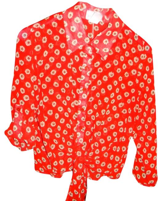 Geri C New York Blouse Front Tie Shirt Button Cuff Sleeves Button Down Shirt Red with flower print