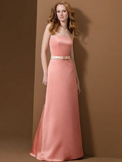 Alfred Angelo Shrimp W/ Peach Fizz Band Satin Style 6475 Formal Bridesmaid/Mob Dress Size 8 (M)